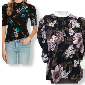 Wayf • Black Floral Puffed Sleeve Blouse • Size L